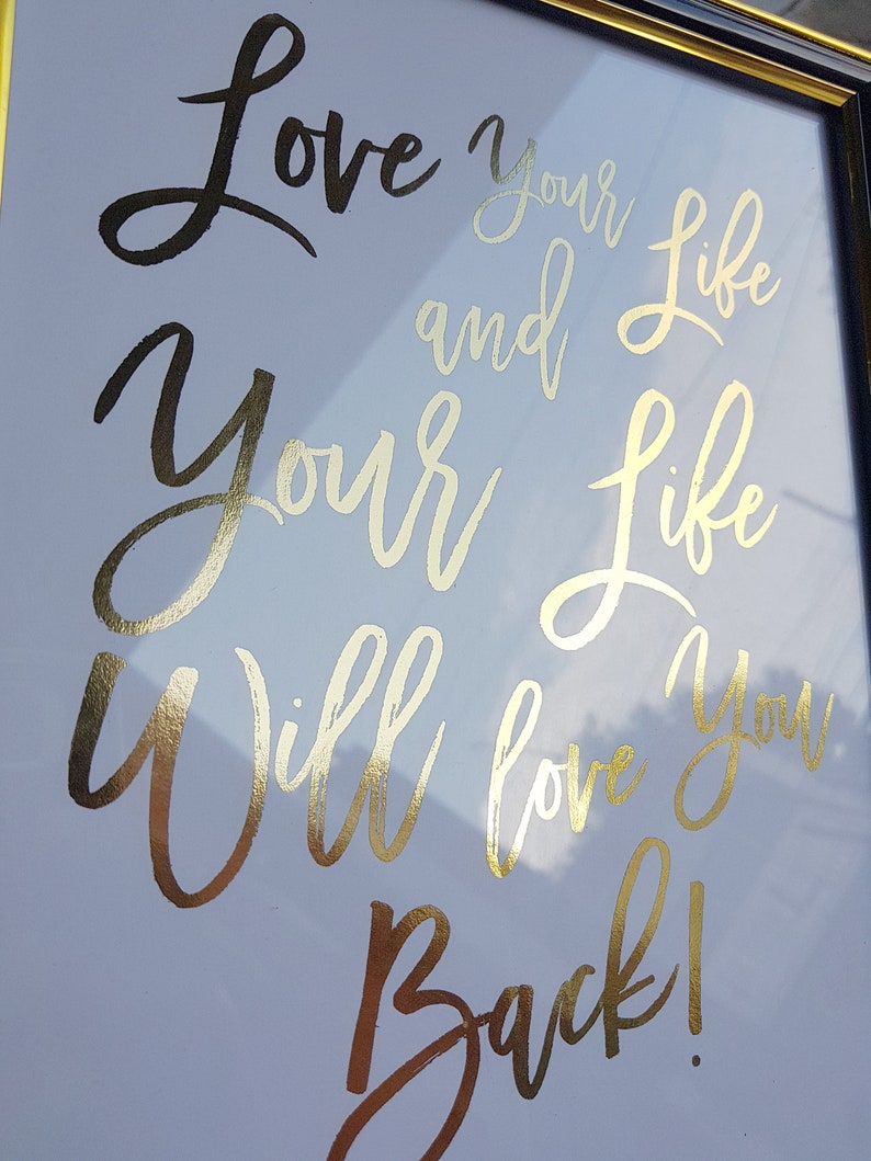 Gold Foil Calligraphy Print Law of Attraction Quotes 8 5