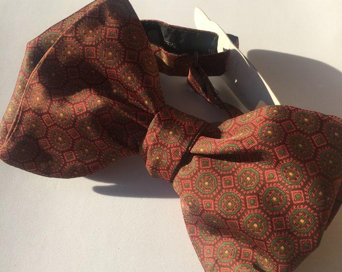 Orange Pattern Vintage Self Tie Bow Tie