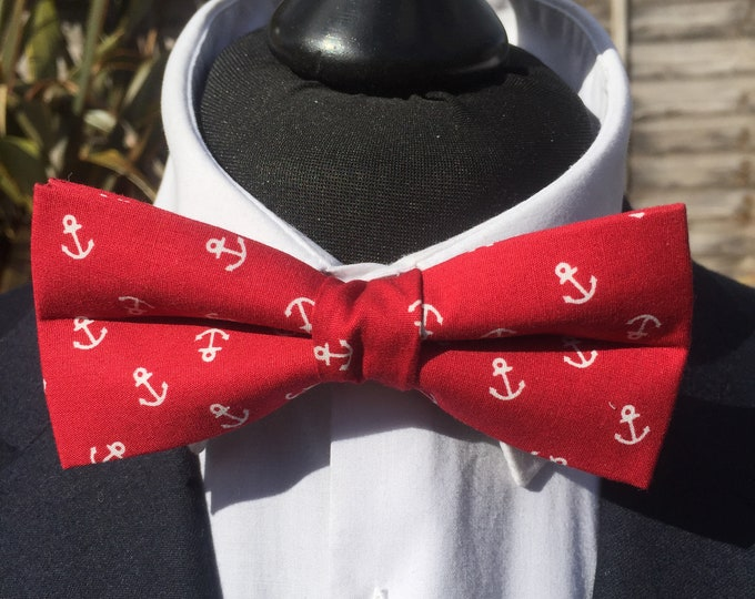 Red Anchor Print Ready Tie Bow Tie