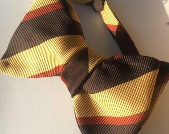 Brown Stripe Vintage Self Tie Bow Tie