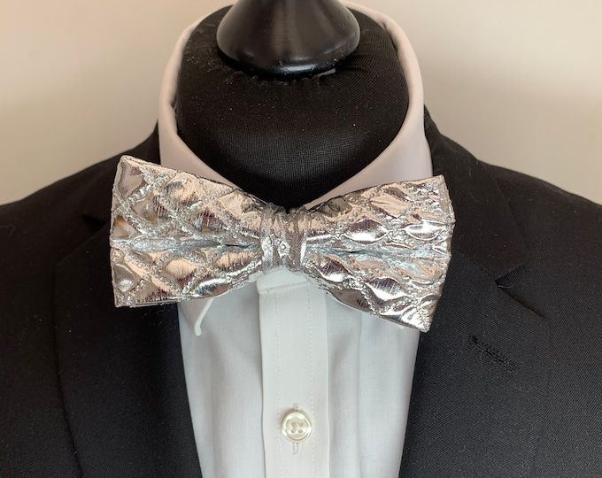 Men's Silver Bow Tie - available ready tied