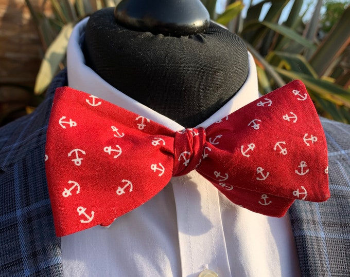 Men's Red Anchor Bow Tie  - available as self tie. Matching pocket square available