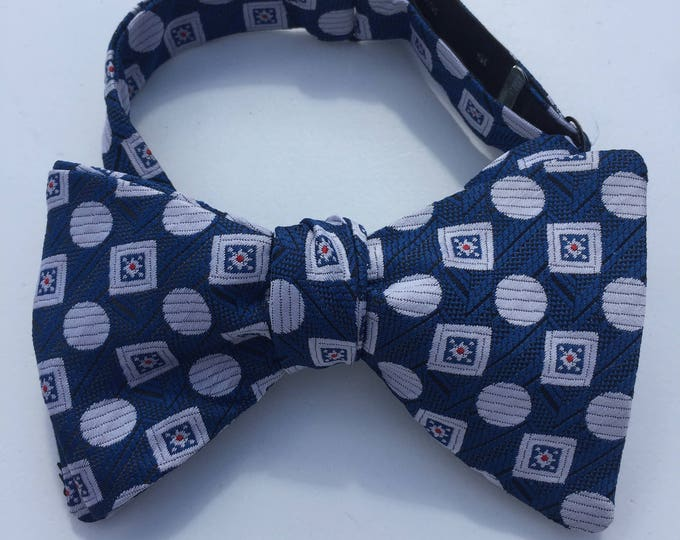 Blue Silver Pattern Vintage Self Tie Bow Tie