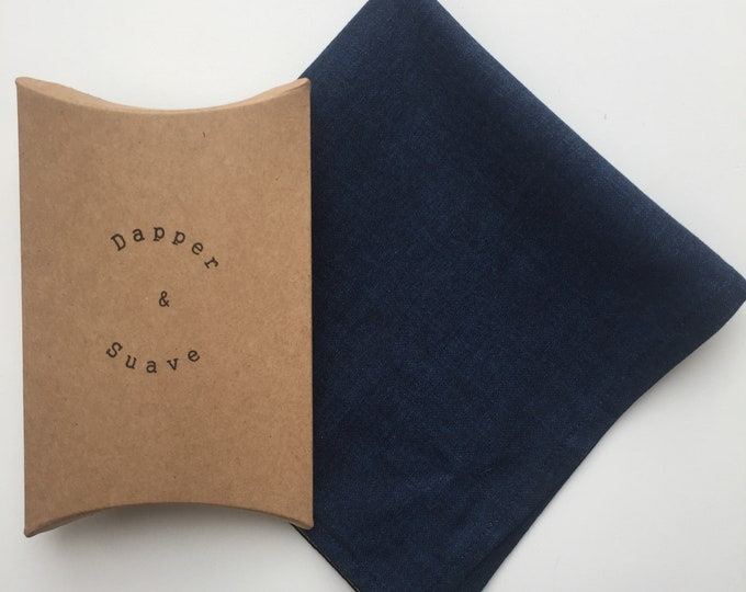 Men's Blue Pocket Square Wedding Handkerchief