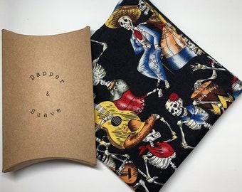 Men's Black Skeleton Print Pocket Square Wedding Handkerchief
