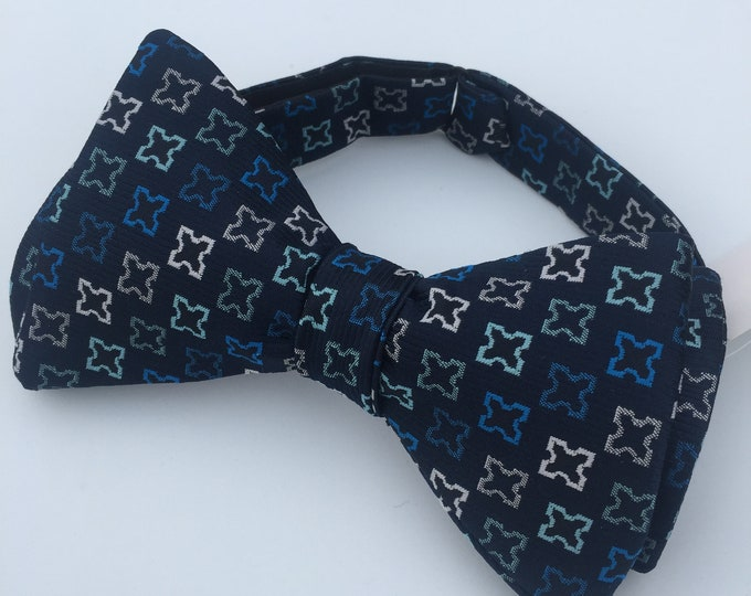 Blue Grey Pattern Vintage Self Tie Bow Tie