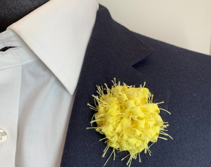 Yellow Lemon Boutonniere Lapel Flower Flower Lapel Pin Wedding