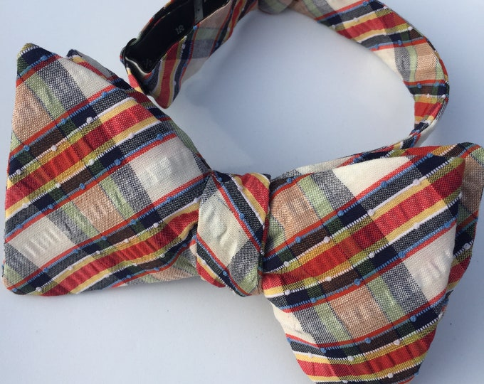 Blue Plaid Check Vintage Self Tie Bow Tie