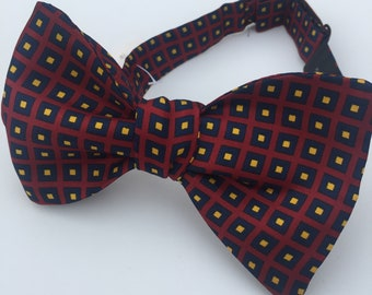 Silk Burgundy Blue Squares Vintage Self Tie Bow Tie
