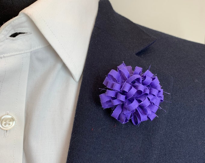 Purple Boutonniere Lapel Flower Flower Lapel Pin Wedding