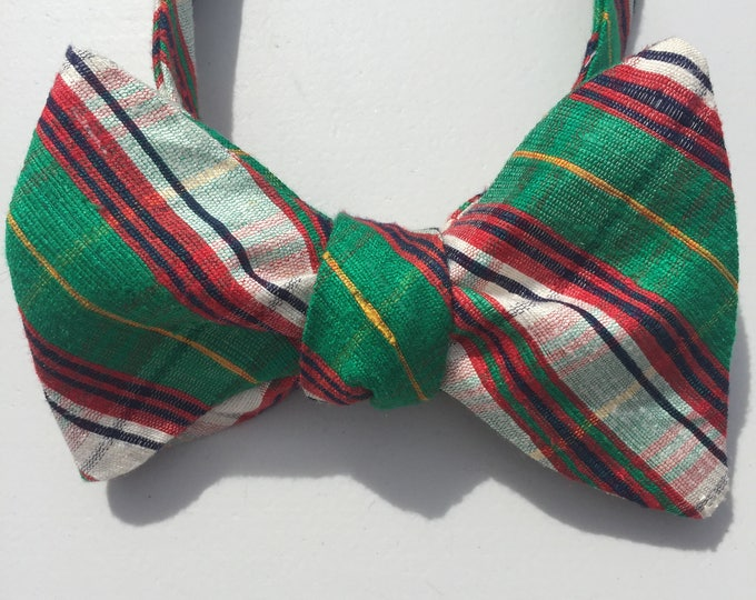 Green Plaid Check Vintage Self Tie Bow Tie