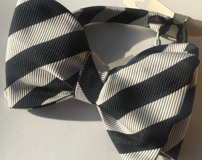 Black Grey Stripe Vintage Self Tie Bow Tie