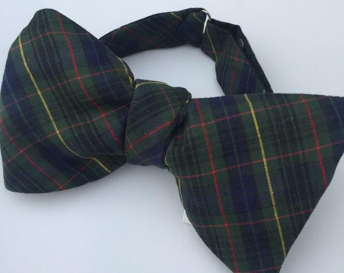 Green Plaid Check Vintage Self Tie Bow Tie
