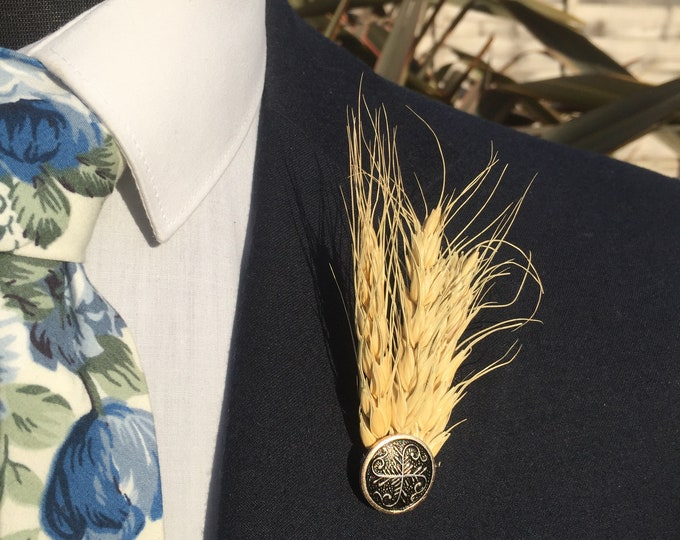 Wheat Boutonniere Lapel Pin Wedding