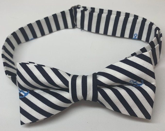 Stripe Anchor Print Ready Tie Bow Tie