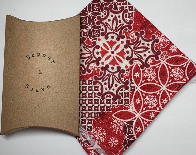 Men's Christmas Red Pocket Square Wedding Handkerchief