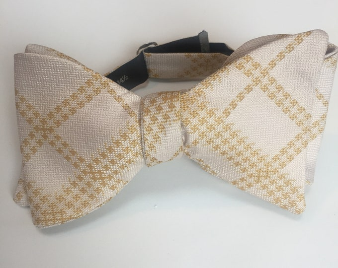 Gold Plaid Check Vintage Self Tie Bow Tie