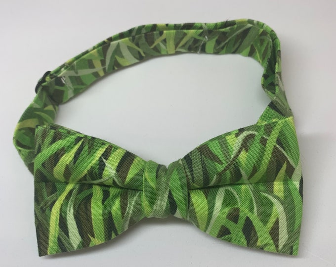 Kids Green Ready Tie Bow Tie - matching pocket square available