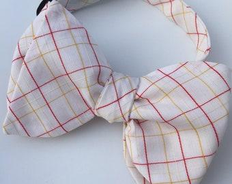 White Plaid Check Vintage Self Tie Bow Tie