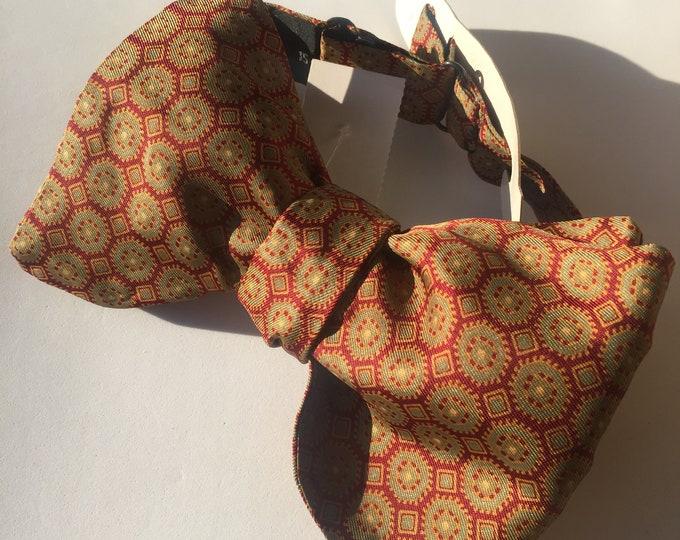 Burgundy Pattern Vintage Self Tie Bow Tie