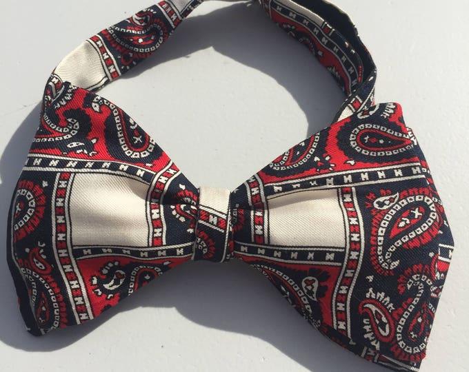 Silk Red Blue Paisley Vintage Self Tie Bow Tie