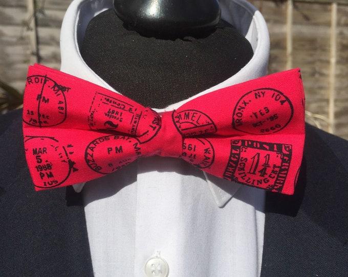 Pink Postmark Print Ready Tie Bow Tie