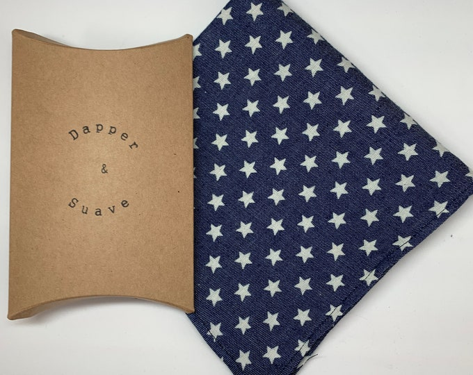 Men's Blue Star Print Pocket Square Wedding Handkerchief