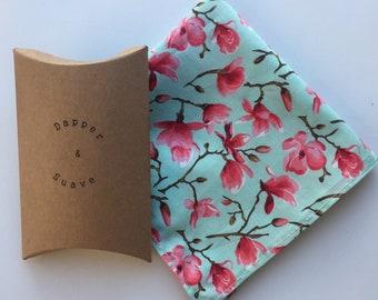 Men's Cherry Blossom Pocket Square Wedding Handkerchief - bow tie also available
