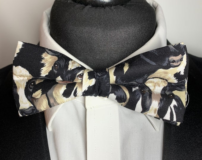 Men's Cow Print  Bow Tie - available as ready tied. Matching pocket square available