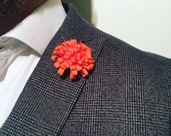 Mens Orange Mens Lapel Pin Flower Wedding Boutonniere Groomsmen Lapel Pin