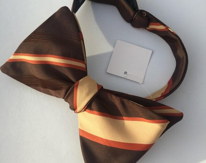 Brown Striped Vintage Self Tie Bow Tie