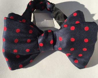 Navy Red Spot Vintage Self Tie Bow Tie
