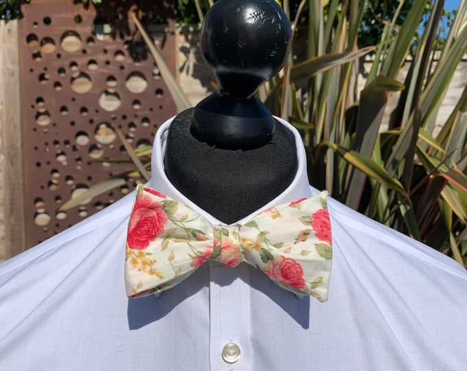 Men's Cream Floral Bow Tie - available as self tie or ready tied. Matching pocket square available