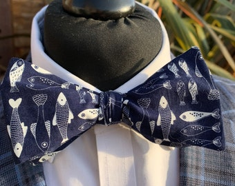 Men's Navy Fish Bow Tie  - available as self tie