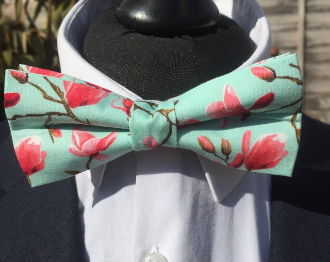Pink Mint Floral Botanical Print Ready Tie Bow Tie