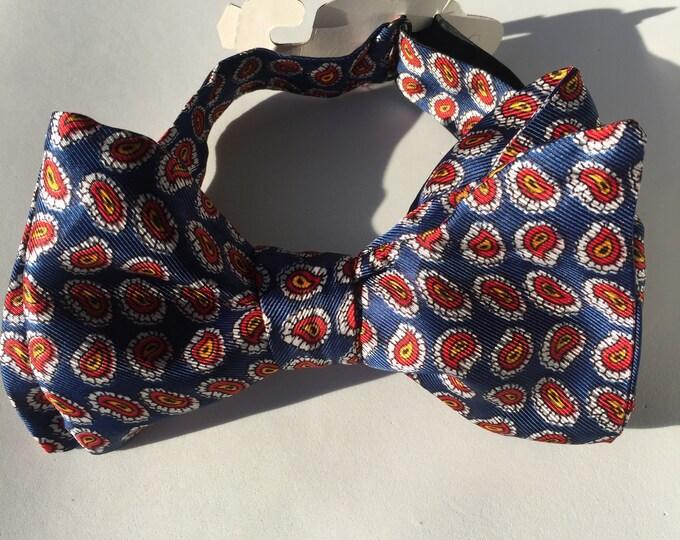 Blue Paisley Vintage Self Tie Bow Tie