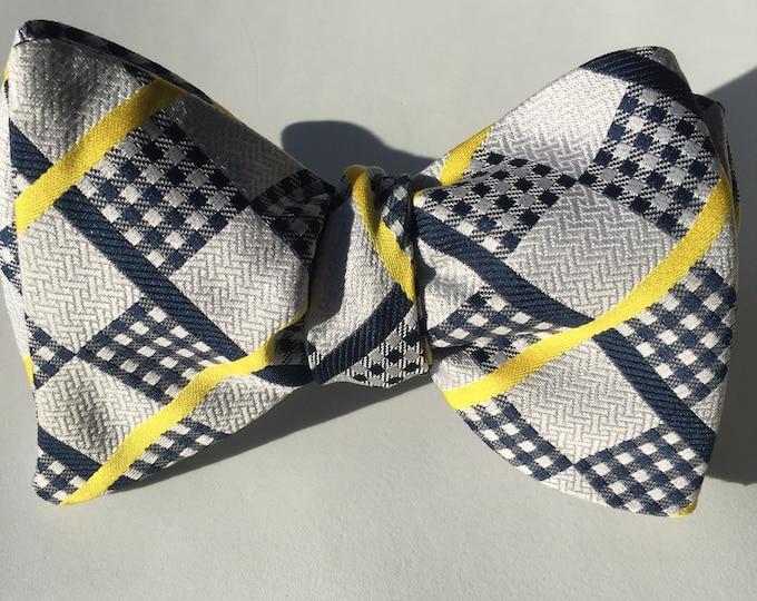 Yellow Plaid Check Vintage Self Tie Bow Tie