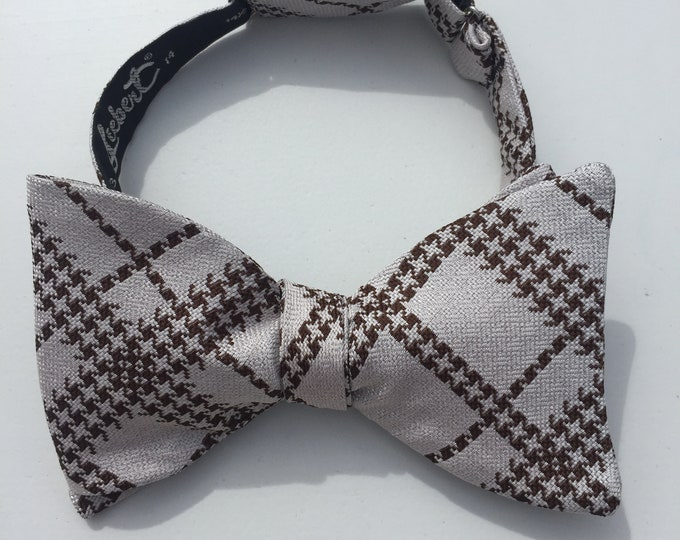 Silver Plaid Check Vintage Self Tie Bow Tie