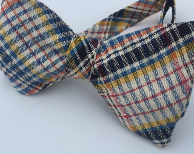 Blue Plaid Check Vintage Self Tie Bow Tie