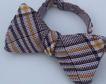 Yellow Plaid Check Vintage Self Tie Bow Tie