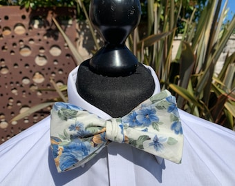 Men's Cream Floral Bow Tie  - available as self tie. Matching pocket square available