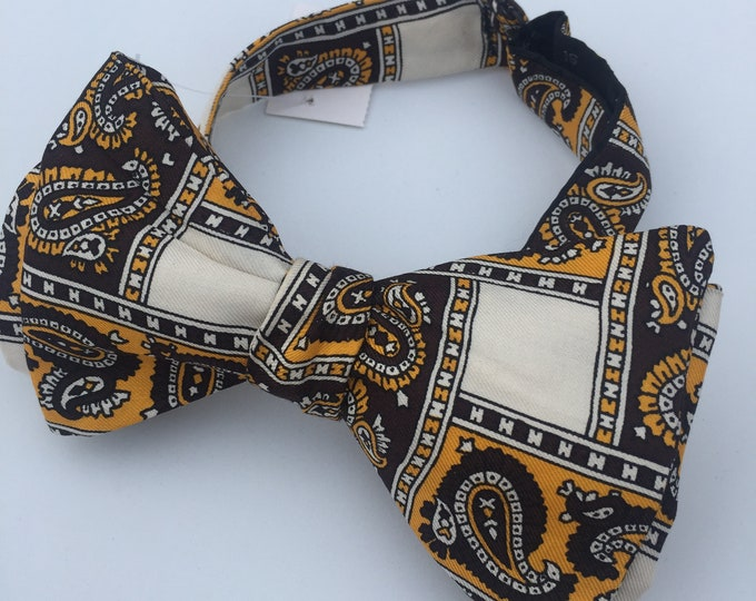 Silk Yellow Paisley Vintage Self Tie Bow Tie
