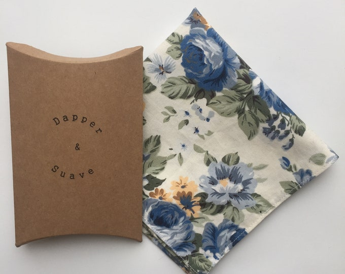 Men's Cream Floral Pocket Square Wedding Handkerchief - bow tie also available