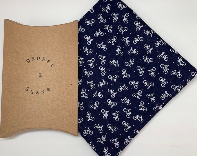 Men's Navy Bike Print Pocket Square Wedding Handkerchief