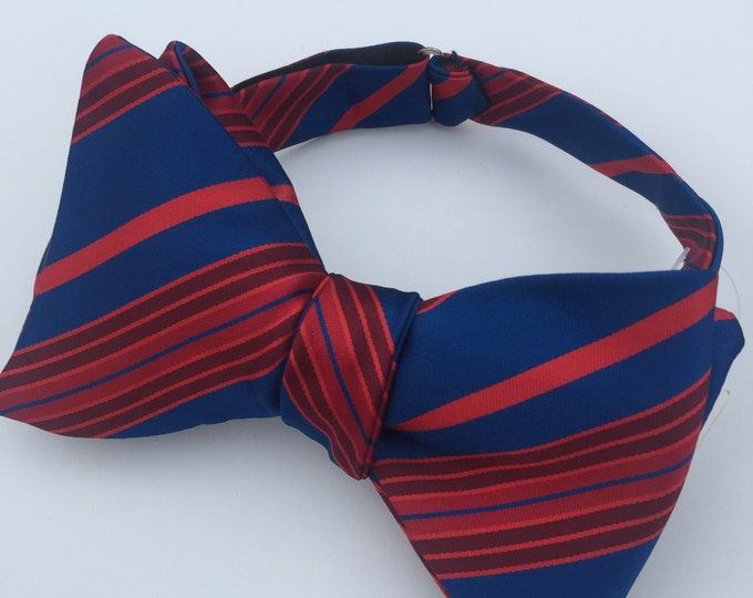 Blue Striped Vintage Self Tie Bow Tie