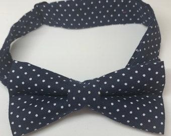 Navy White Spot Ready Tie Bow Tie