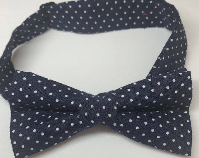 Navy White Spot Ready Tie Bow Tie