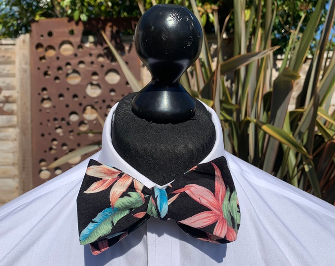 Men's Black Palm Bow Tie  - available as self tie. Matching pocket square available