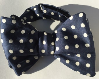 Navy Spot Vintage Self Tie Bow Tie