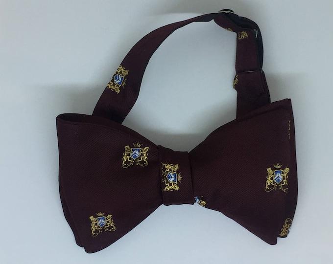 Burgundy Coat Of Arms Vintage Self Tie Bow Tie